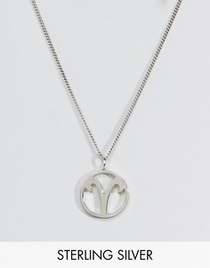 Fashionology Sterling Silver Aries Zodiac Necklace - Серебряный