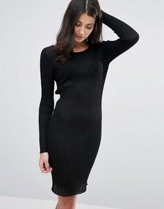 Облегающее платье в рубчик Brave Soul - Черный