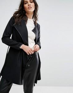 Короткое пальто с ремнем Brave Soul - Черный