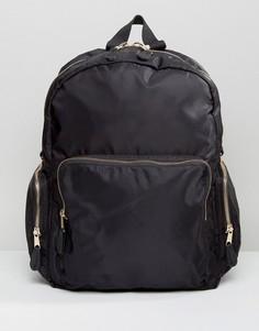 Нейлоновый рюкзак в стиле милитари Monki - Черный