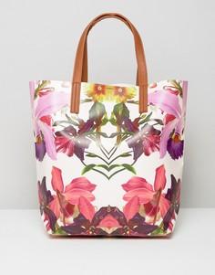 Большая сумка с цветочным принтом Ted Baker - Розовый