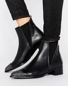 Кожаные ботинки с цепочками на носке Bronx - Черный