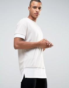 Длинная многослойная футболка New Look - Stone