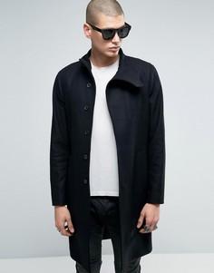 Шерстяное пальто с воротником-трубой AllSaints - Черный