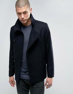 Двубортное пальто AllSaints - Темно-синий