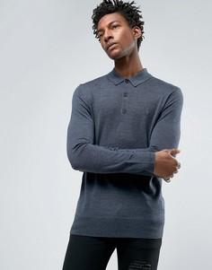 Трикотажное поло из мериносовой шерсти с длинными рукавами AllSaints - Темно-синий