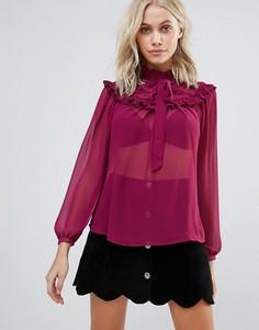 Блузка с оборками на груди QED London - Красный