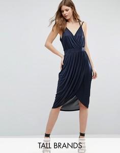 Платье с запахом и драпировкой спереди Vero Moda Tall - Темно-синий