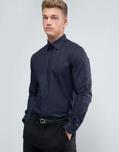 Строгая узкая рубашка в горошек Burton Menswear - Темно-синий