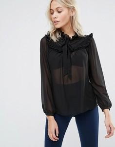 Блузка с оборками на груди QED London - Черный