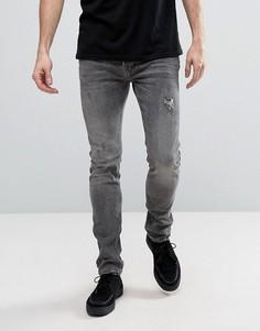 Серые выбеленные джинсы скинни с потертой отделкой AllSaints - Серый