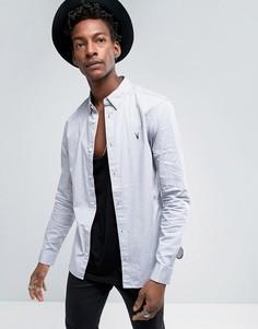 Рубашка узкого кроя с воротником на скрытых пуговицах AllSaints - Серый