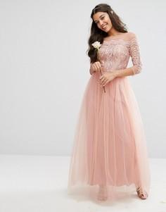 Кружевное платье макси с юбкой из тюля Chi Chi London Premium - Розовый