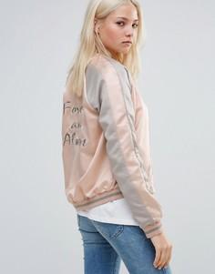 Атласная куртка-пилот с контрастными вставками Vila - Розовый