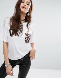 Футболка с леопардовым карманом Boohoo - Белый