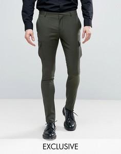 Облегающие строгие брюки-карго Heart & Dagger - Зеленый
