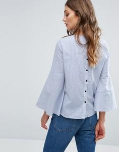Блузка в полоску с расклешенными рукавами Vero Moda - Синий