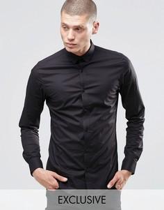 Зауженная рубашка со скрытой пуговичной планкой Only & Sons - Черный