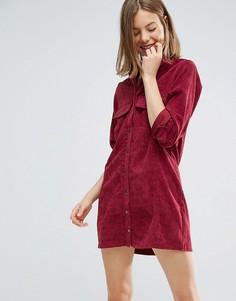 Вельветовое платье-рубашка Native Youth - Красный
