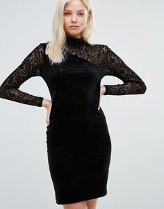 Облегающее платье с высокой горловиной и кружевными вставками Vila - Черный