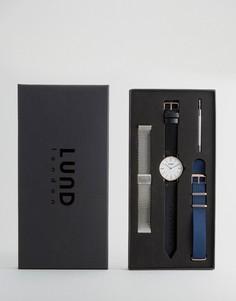 Часы с 3 сменными ремешками (черный кожаный, нейлоновый и серебристый сетчатый) Lund London - Мульти