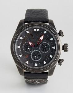 Часы с черным кожаным ремешком Police Mephisto - Черный