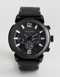 Черные часы с кожаным ремешком Police Concept - Черный