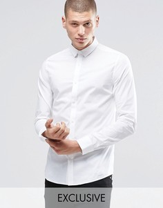 Зауженная рубашка со скрытой пуговичной планкой Only & Sons - Белый