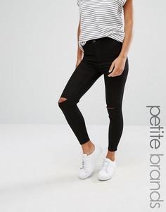 Джинсы скинни с разрезами на коленках New Look Petite - Черный