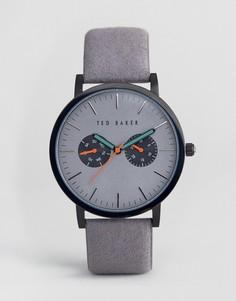 Часы с хронографом и кожаным ремешком Ted Baker Brit - Серый