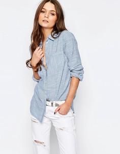 Рубашка свободного кроя в полоску New Look - Синий