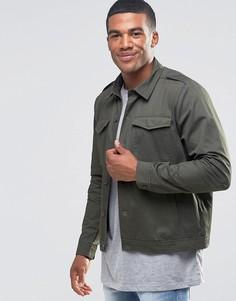 Куртка-рубашка цвета хаки в стиле милитари New Look - Зеленый