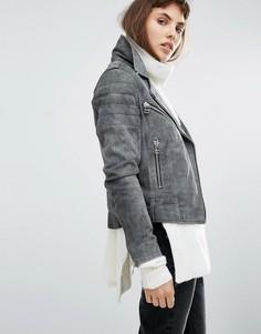 Замшевая байкерская куртка Goosecraft Antique - Серый