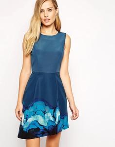 Платье с асимметричным принтованным подолом Stylestalker - Зеленый