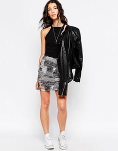 Облегающая юбка с вырезами RVCA - Черный