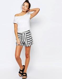 Льняные полосатые шорты New Look - Кремовый