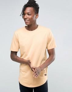 Удлиненная футболка с асимметричным краем Only & Sons - Бежевый