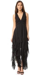 Вечернее платье Brynn с остроугольными краями и оборками Alice + Olivia