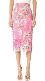 Кружевная юбка-карандаш Monique Lhuillier