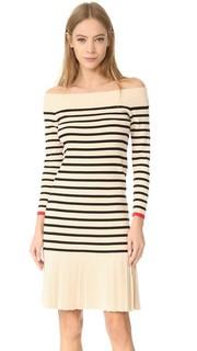 Платье в полоску с вырезом «лодочкой» Edition10