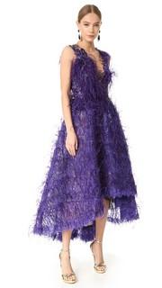 Вечернее платье с перьями Marchesa