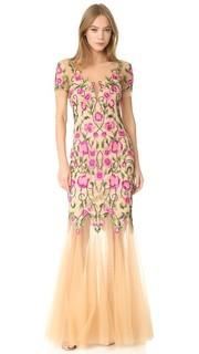 Вечернее платье из тюля с цветочным рисунком Marchesa Notte