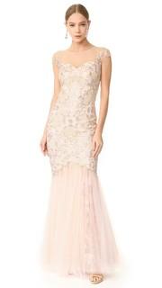 Вечернее платье с короткими рукавами Marchesa Notte