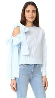 Блуза в крепированную полоску с открытым плечом и завязками Msgm
