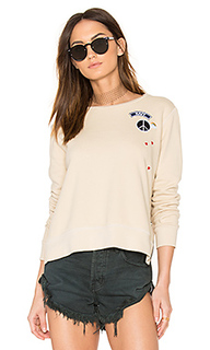 Zip crew neck patch sweatshirt - SUNDRY