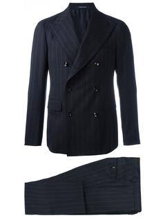 double-breasted pinstripe two-piece suit Tagliatore