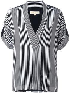 полосатая блузка с V-образным вырезом Michael Michael Kors
