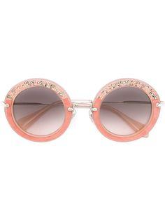 солнцезащитные очки в круглой оправе с кристаллами Miu Miu Eyewear