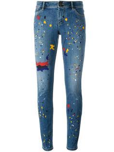 splatter print skinny jeans Alice+Olivia