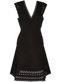 расклешенное платье с V-образным вырезом Hervé Léger